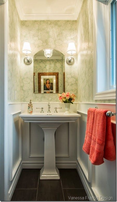 Powder room bathroom pedestal sink sconces wainscoting - Powder room sink ideas ...