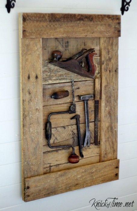 DIY Rustic Antique Tools Display - KnickofTime.net