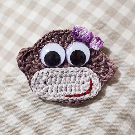 Make an easy crochet Cheeky Monkey Badge/ Applique with a simple to follow step by step tutorial
