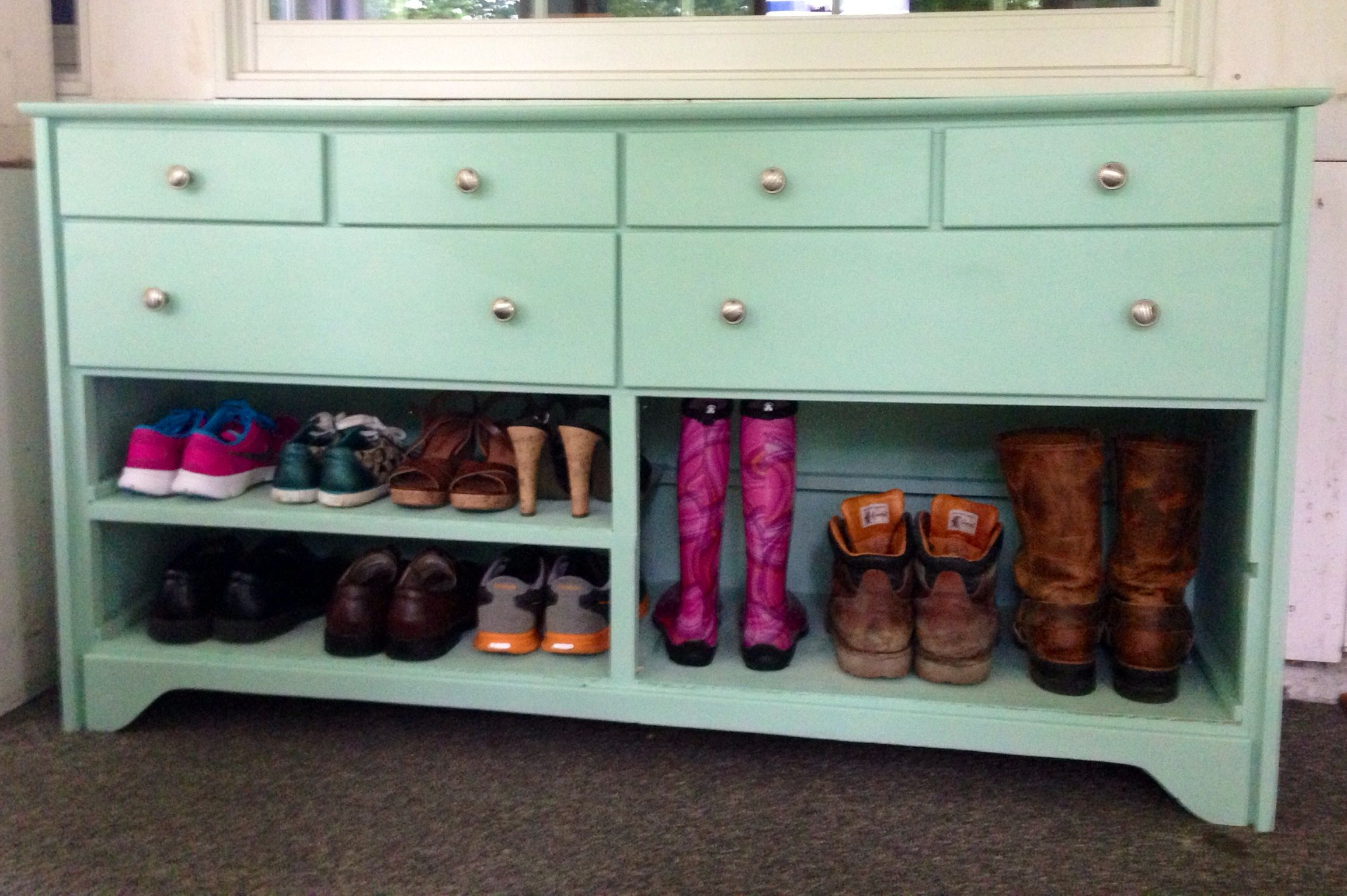 Old dresser turned into shoe rack with storage