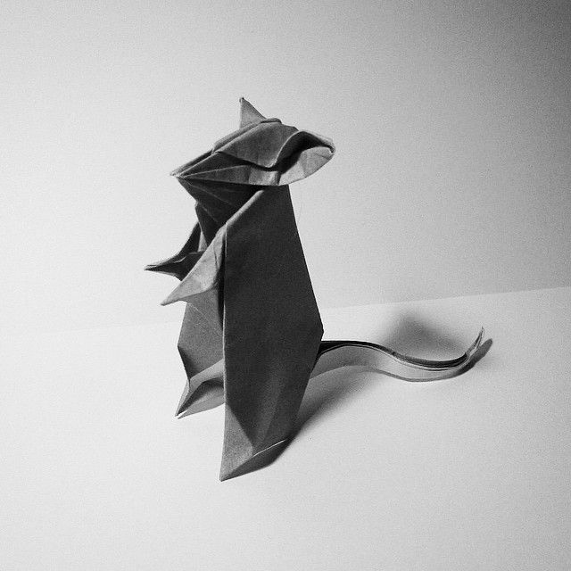 March 23rd 2015 Origami mouse I made today. #origami #paper #folding #grey #bw #mouse #diy #craft #82