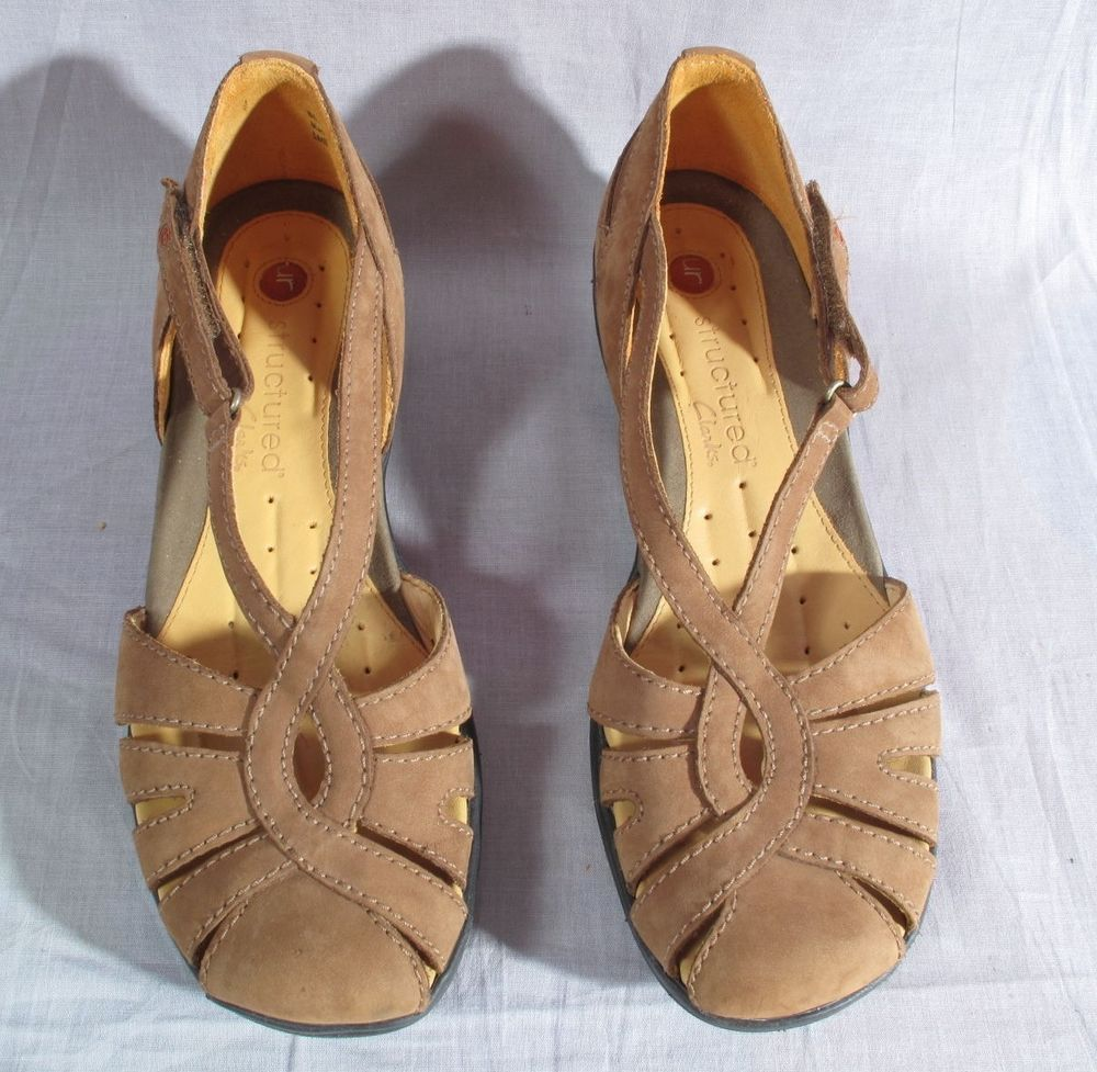 Brown N Leather 9 Low Clarks On Slip Women's Structured Size Shoes qtppn6