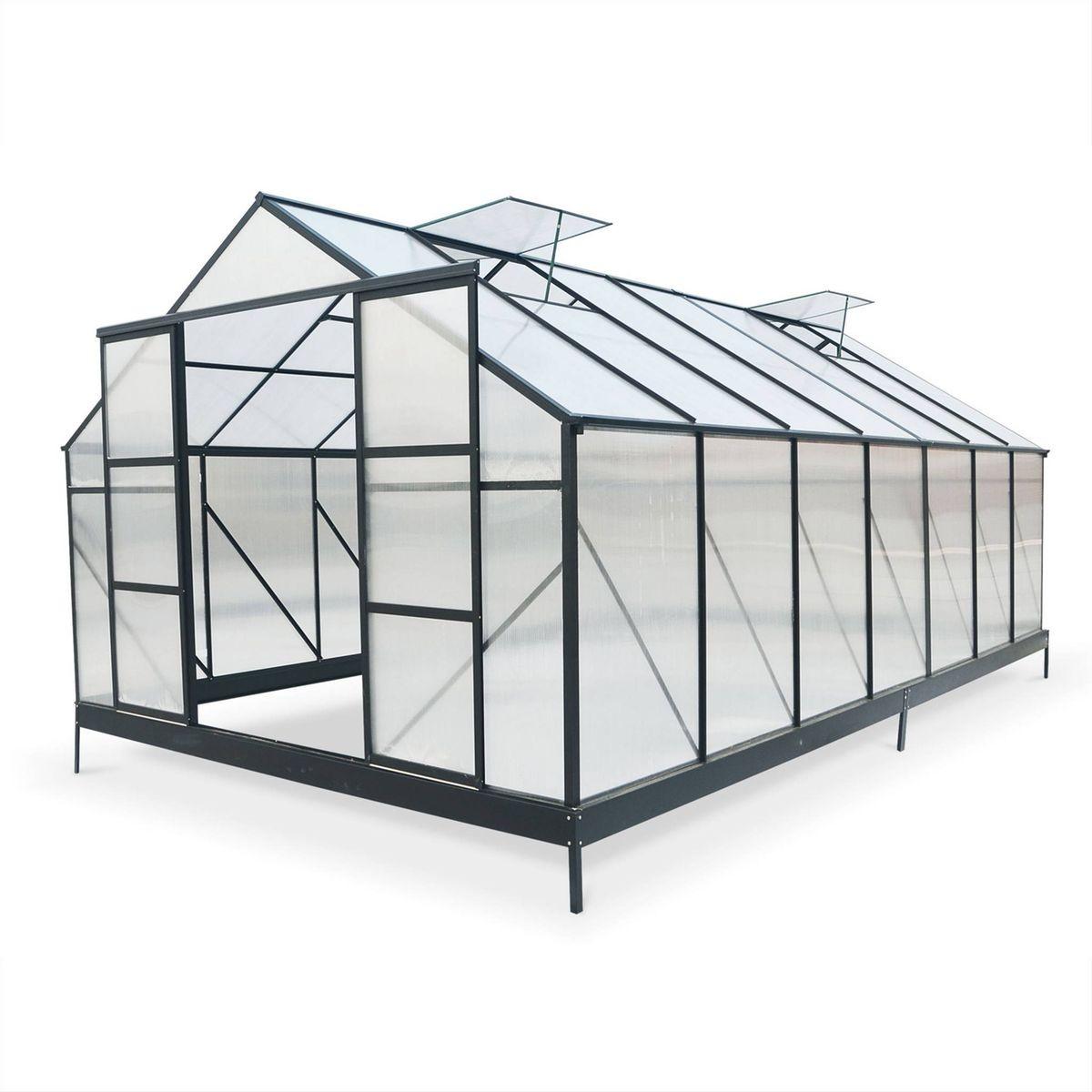 Grande serre de jardin PEUPLIER premium noire en polycarbonate 12m² ...