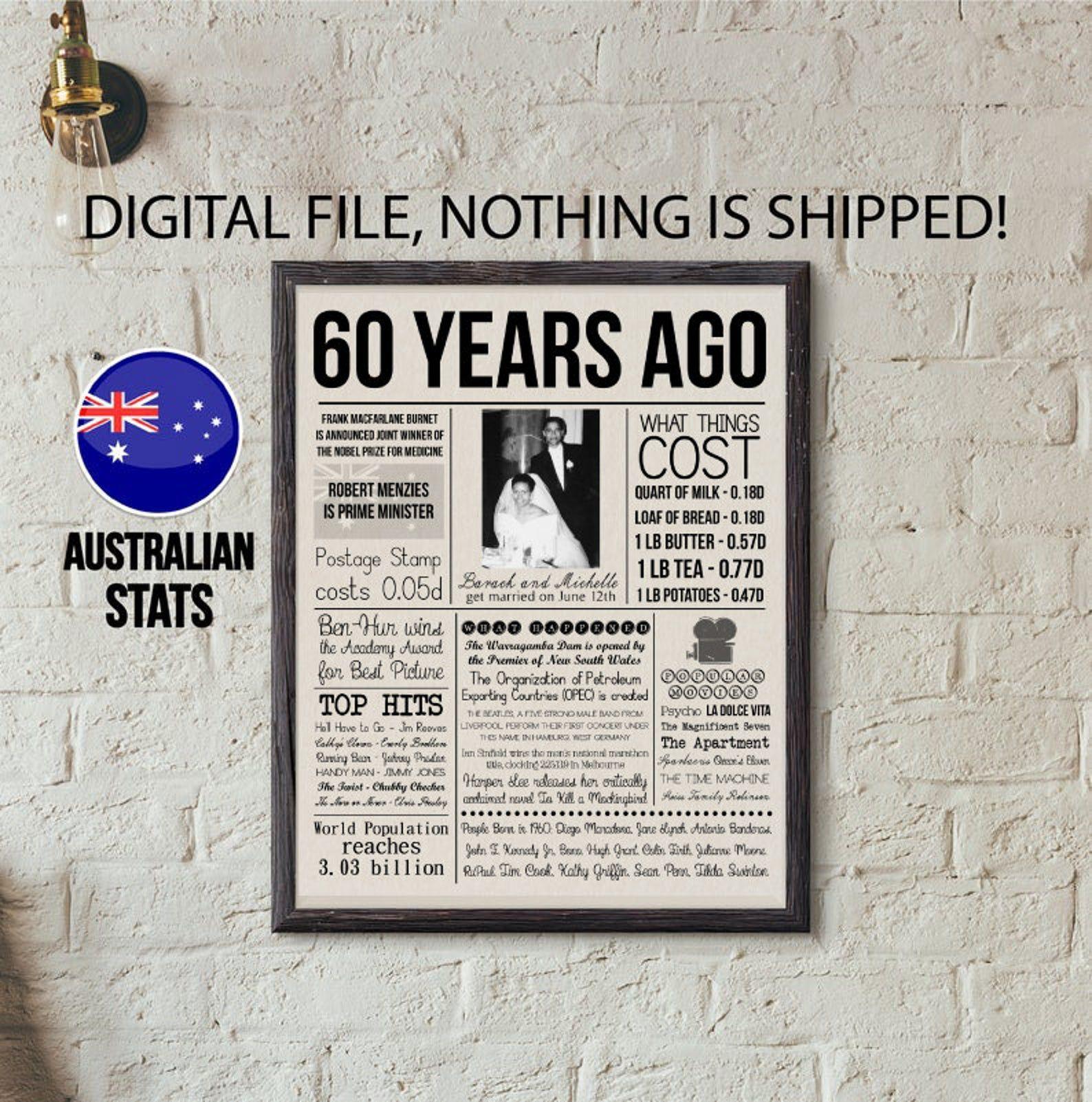 60th Anniversary Gift, Australian 60th Wedding Anniversary