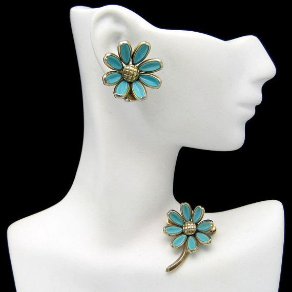 CROWN TRIFARI Vintage Brooch Pin Earrings Poured Glass Aqua Flowers Daisies Clips - Beautiful set for the fall! Add some color to a classic look and people are sure to notice your fabulous earrings :) Available now from #MyClassicJewelry - https://www.etsy.com/listing/176151516/crown-trifari-vintage-brooch-pin?ref=shop_home_active_2