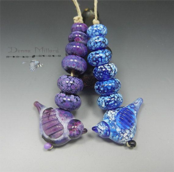 Handmade LAMPWORK Glass Bead Set DONNA MILLARD sra blue bird folk art orchid purple silver sra supplies lamp work autumn fall winter