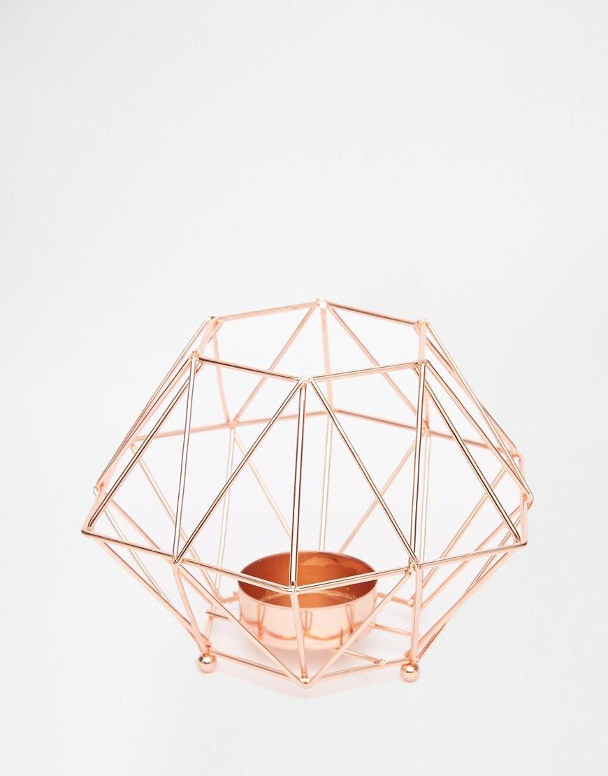 bougeoir pour bougie chauffe plat m tallique en or rose. Black Bedroom Furniture Sets. Home Design Ideas