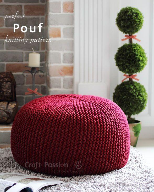 Pouf Knitting Pattern Knitting Crafts Knitted Pouf