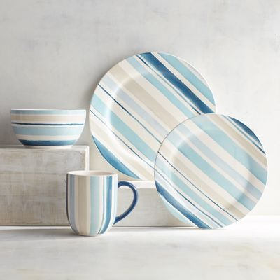 Let the beachy stripes of our Sarah ironstone dinnerware add a breath of fresh air to your tabletop. This dinnerware has beauty behind its durability. Featuring alternating stripes in coastal hues, let it inspire your warm-weather table. You'll be feeling those balmy breezes in no time.