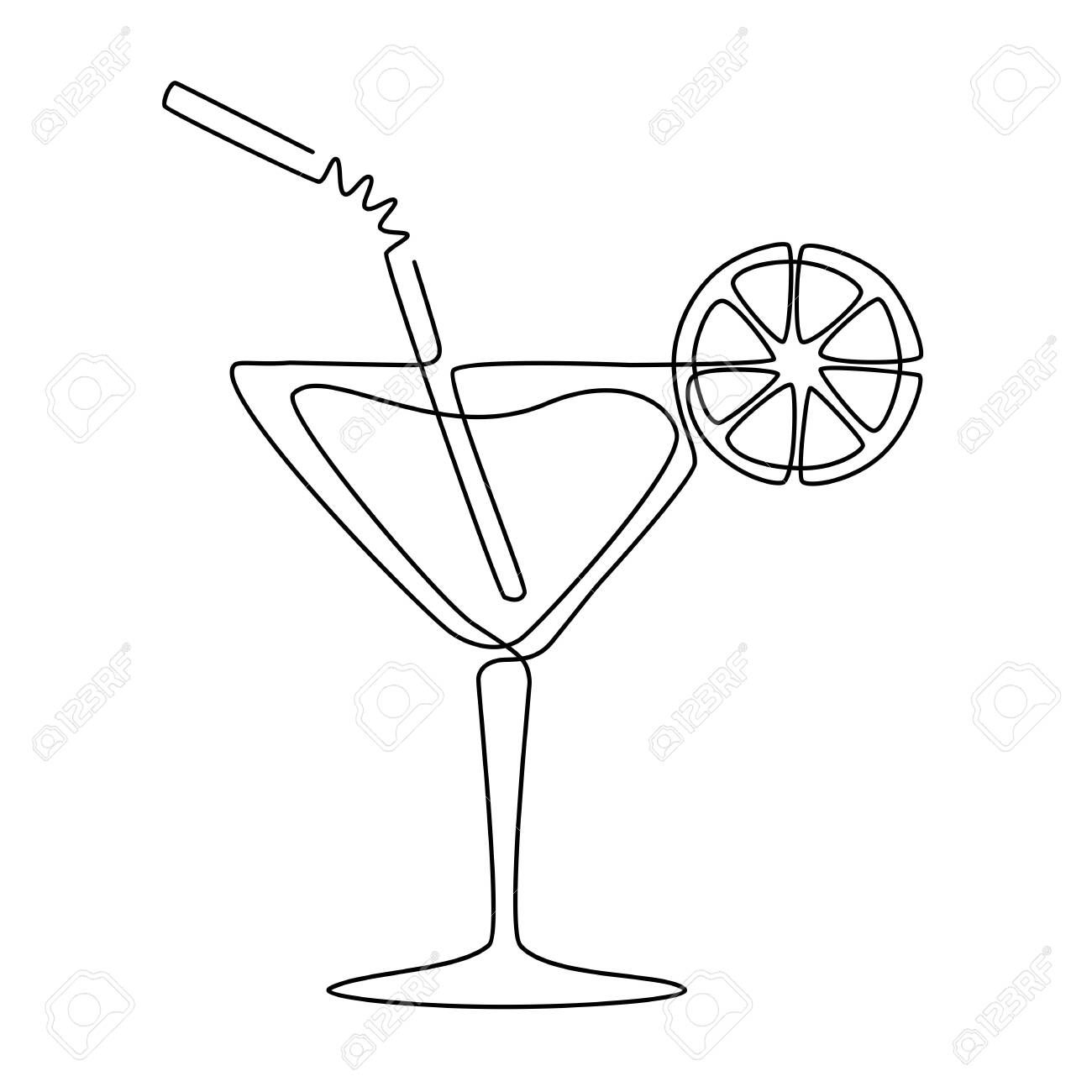 Continuous Line Drawing Of Cocktail Vector Linear Black Illustration Isolated On White Background Sto Line Art Drawings Line Drawing Continuous Line Drawing