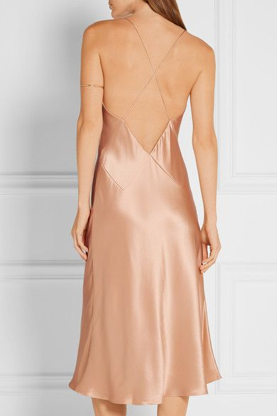 5d941568c7 Champagne silk-charmeuse bias cut slip dress
