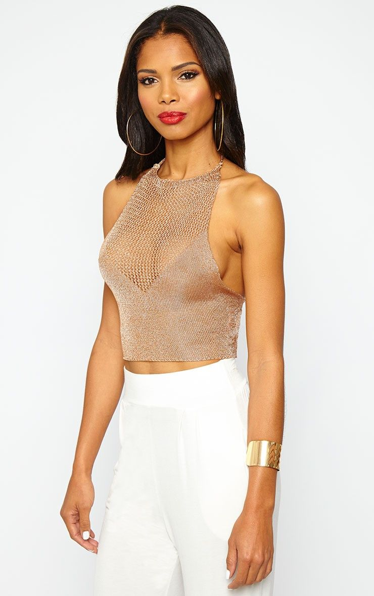 09653fe41734d8 Nubia Gold Metallic Knitted Crop Top Image 1