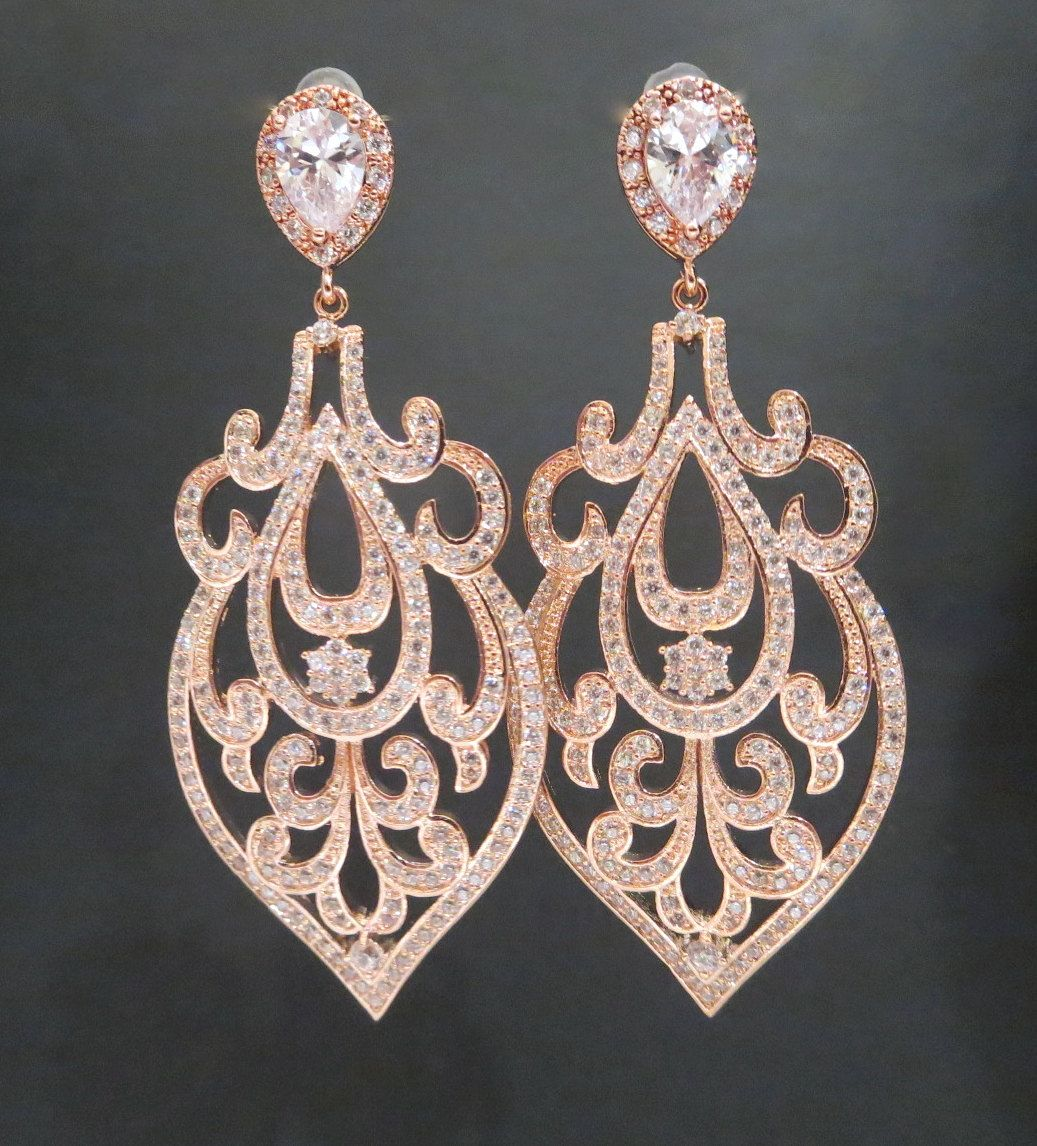 Rose Gold Wedding Earrings, Rose Gold chandelier earrings, Bridal earrings, Wedding jewelry, Art Deco Earrings, Statement earrings, AMELIA by treasures570 on Etsy https://www.etsy.com/listing/214162187/rose-gold-wedding-earrings-rose-gold
