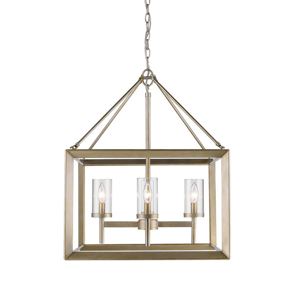 Golden lighting smyth light white gold chandelier with clear glass