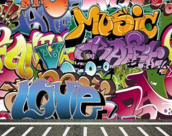 Graffiti Backdrop Grunge Colored Brick Wall With Concrete Etsy Graffiti Wallpaper Graffiti Wall Graffiti Designs