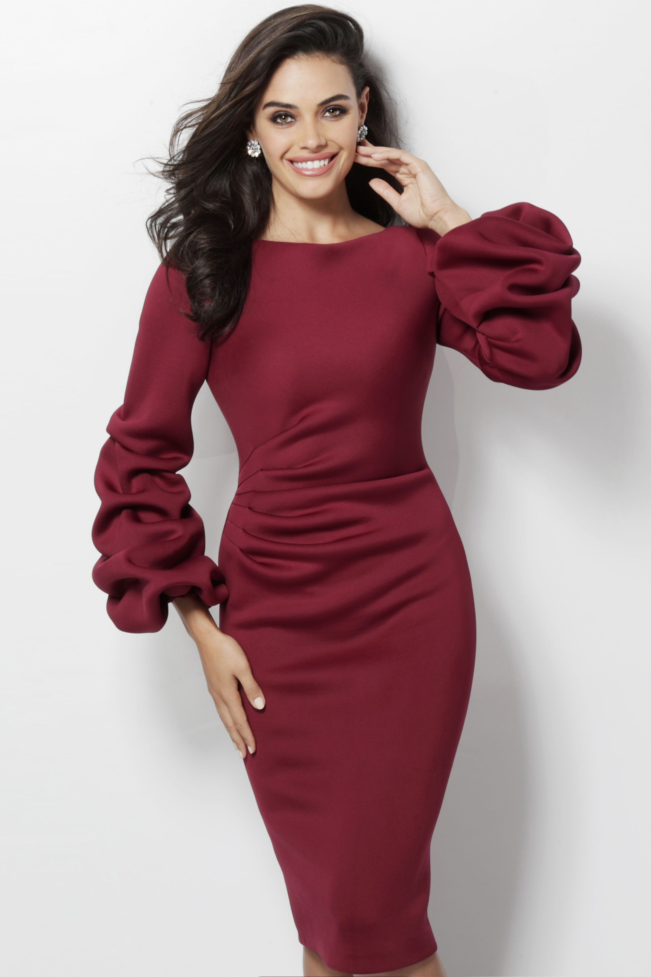 Ruched long sleeve scuba cocktail dress from jovani in