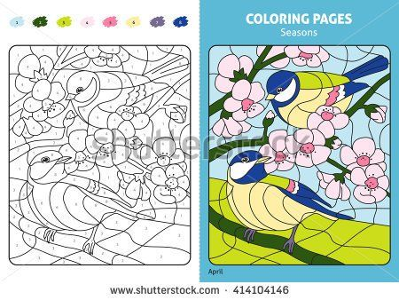 Seasons coloring page for kids, april month.Printable design ...