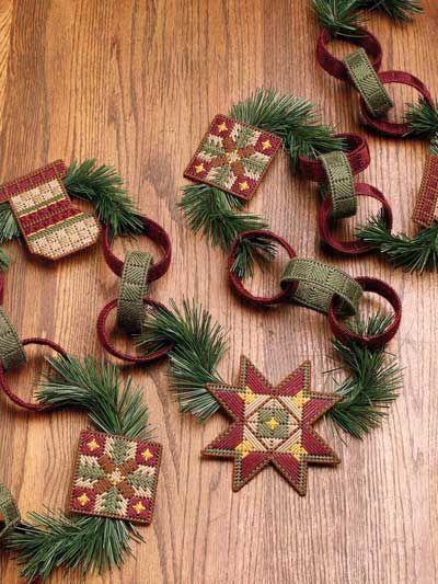 Country Christmas Garland Christmas Garland Plastic Canvas Christmas Rustic Christmas