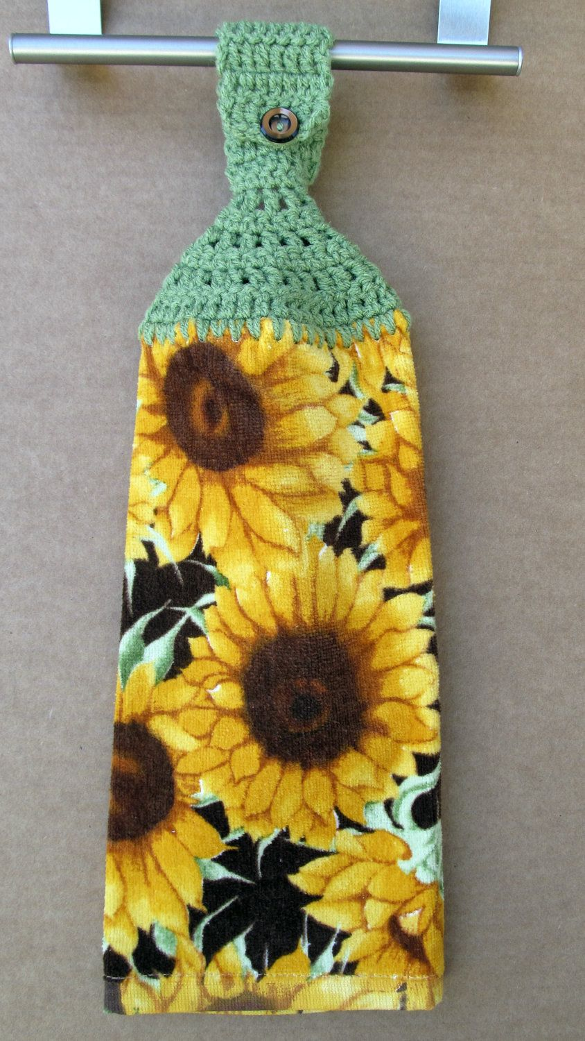 Sunflower Hanging Kitchen Towel with crocheted top | Girasoles ...