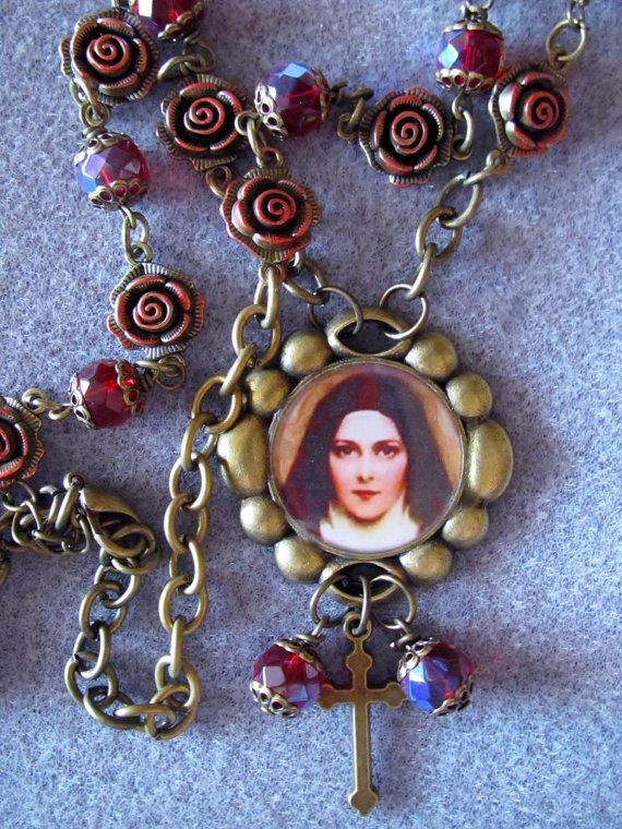 St. Therese of Lisieux Catholic Bronze necklace with hand-tinted rose metal beads by Wanda Maria Designs
