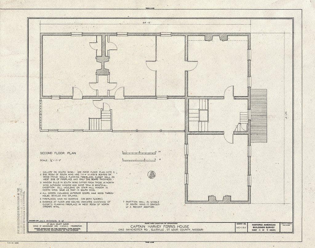 Historic Pictoric Blueprint HABS MO 95 Ellis 1 Sheet 4 of 9 Captain Harvey Ferris House 1362 Manchester Road Ellisville St Louis County MO