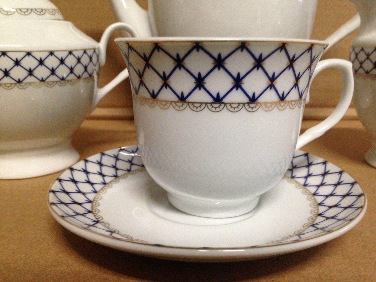 Set of 6 Cobalt Net Wholesale Tea Cups and Saucers - 2 Sets Left ...