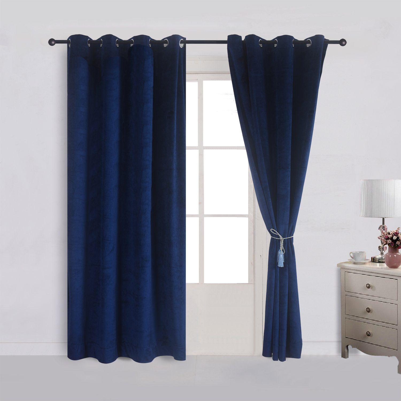 Cherry Home Super Soft Velvet Curtain Drape Panel Blackout