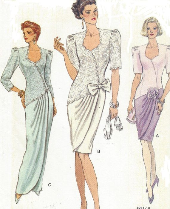90s Womens Mock Wrap Dress Day or Evening Vogue Sewing Pattern 8061 ...