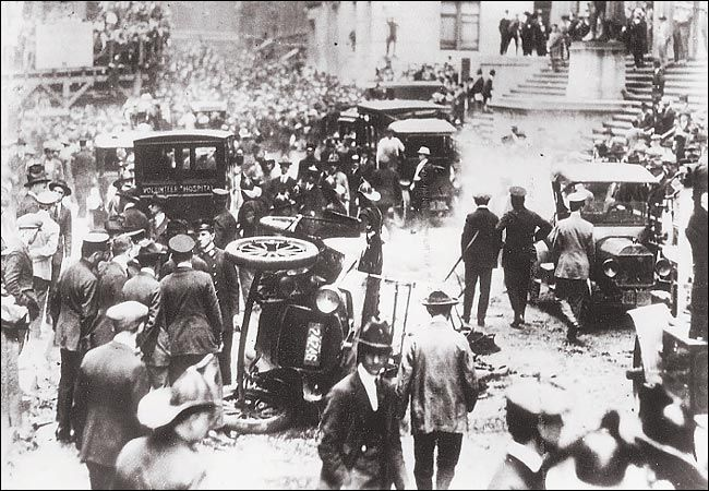 After a 1920 bomb blast, Wall Street, NYC. More than 30 people were killed and hundreds injured. Though there are some theories, the cause is still a mystery.