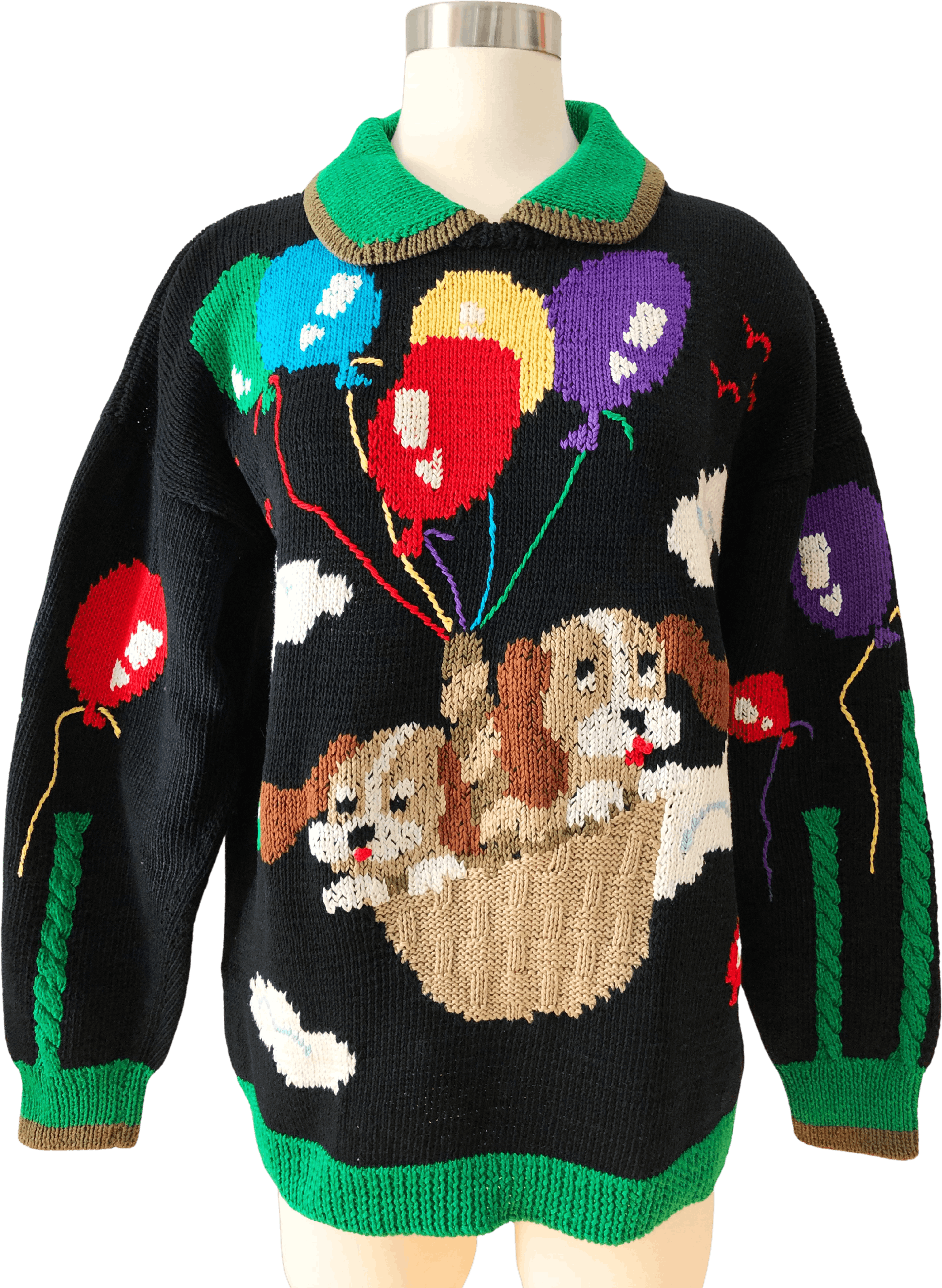 Custom Made Dog Sweater Crochet Yellow Winter Sweater Features a Floral Embroidery with Front Button Closure Made to Order