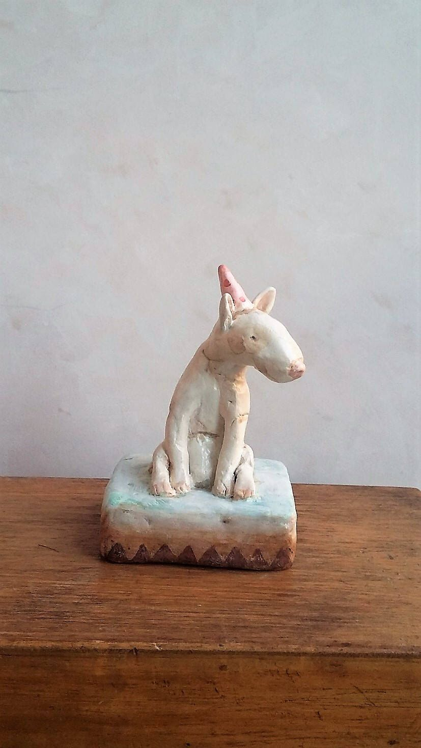 Little art sculpture, air dry clay animal figure. by