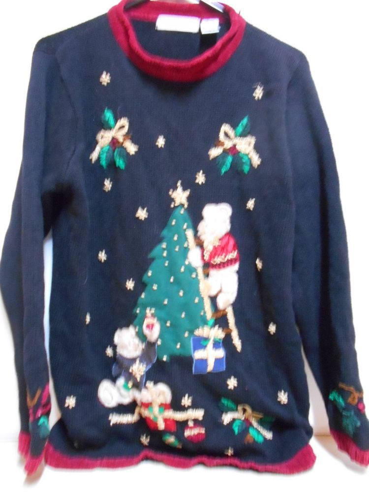 SIZE Medium Women\u0027s Victoria Jones Christmas Sweater W/Bears Tree