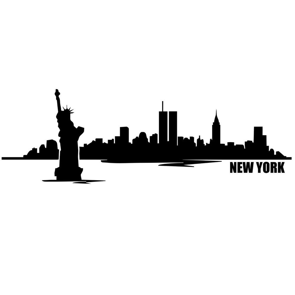 Nyc Skyline With Statue Of Liberty Silhouette Google Search New York Skyline Silhouette Skyline Drawing New York Canvas