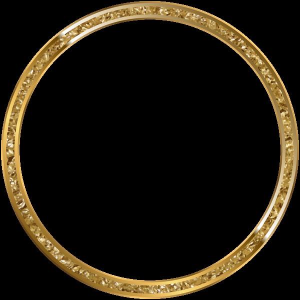 Round Border Frame Gold Transparent PNG Clip Art