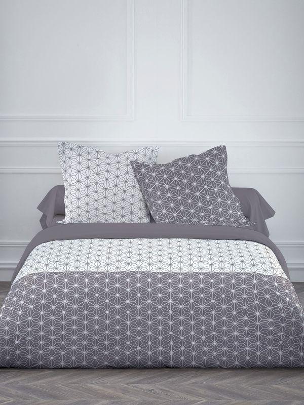Parure de lit housse de couette et taies bicolore gris et - Housse de couette bicolore ...