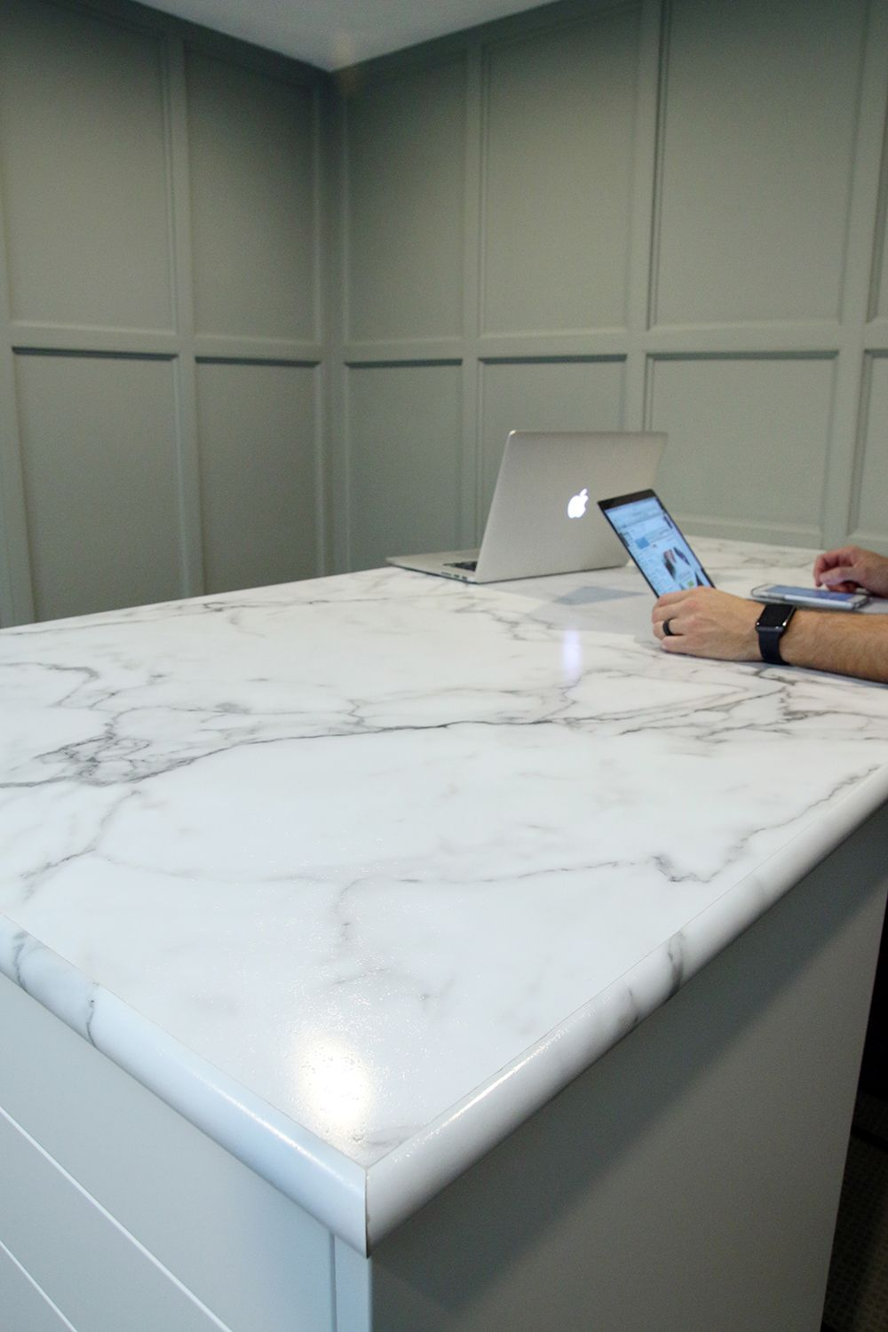 Our Calacatta Marble Countertop By Formica In The Home Office Yeah That S Laminate