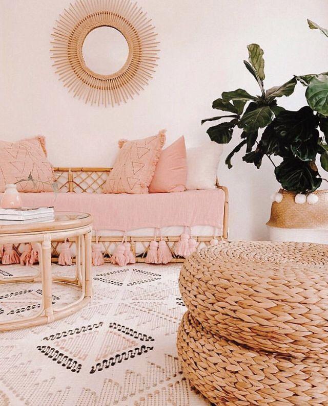 55 Bohemian Living Room Decor Ideas: Modern Boho Home Decor, Peach Home Decor, Modern Boho Pink