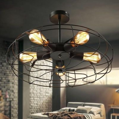 Close To Ceiling Lights Delectable Novelty Loft Industry Wrought Iron Fan Led Close To Ceiling Light Decorating Inspiration