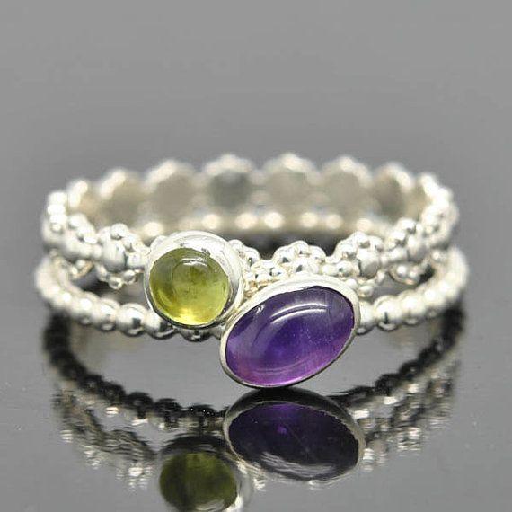 Peridot ring gemstone ring stacking ring August by JubileJewel, $25.00