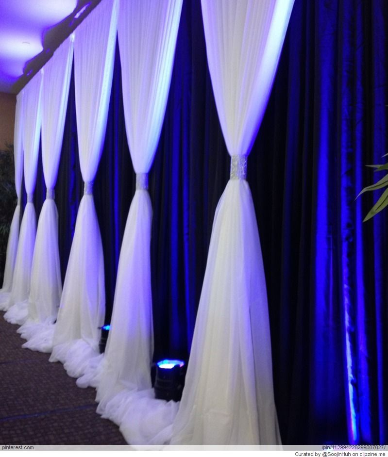 Wedding Backdrop With Navy Background And White Ivory Gathered