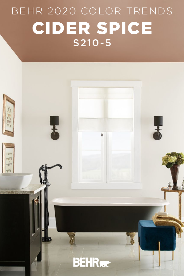 This Modern Master Bathroom Starts With Cider Spice From The New Behr 2020 Color Trends Palette Bathroom Paint Colors Bathroom Paint Colors Behr Home Decor