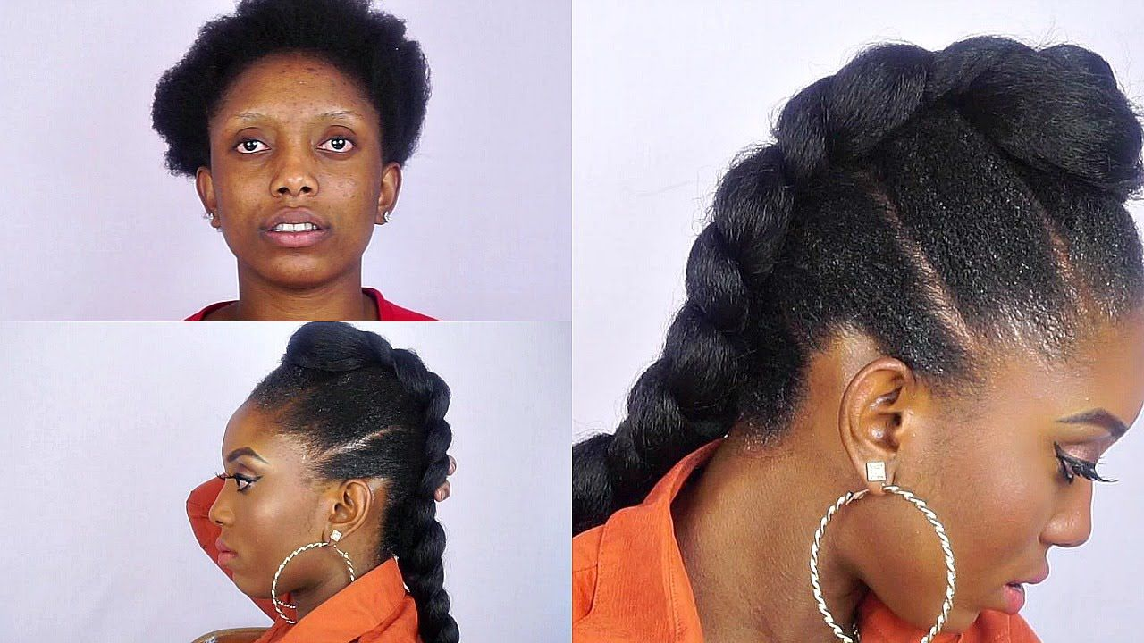 How to faux braided mohawk on short natural hair video natural