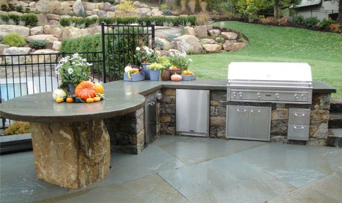 outdoor küche arbeitsplatte steintheke eingebaute geräte, Möbel