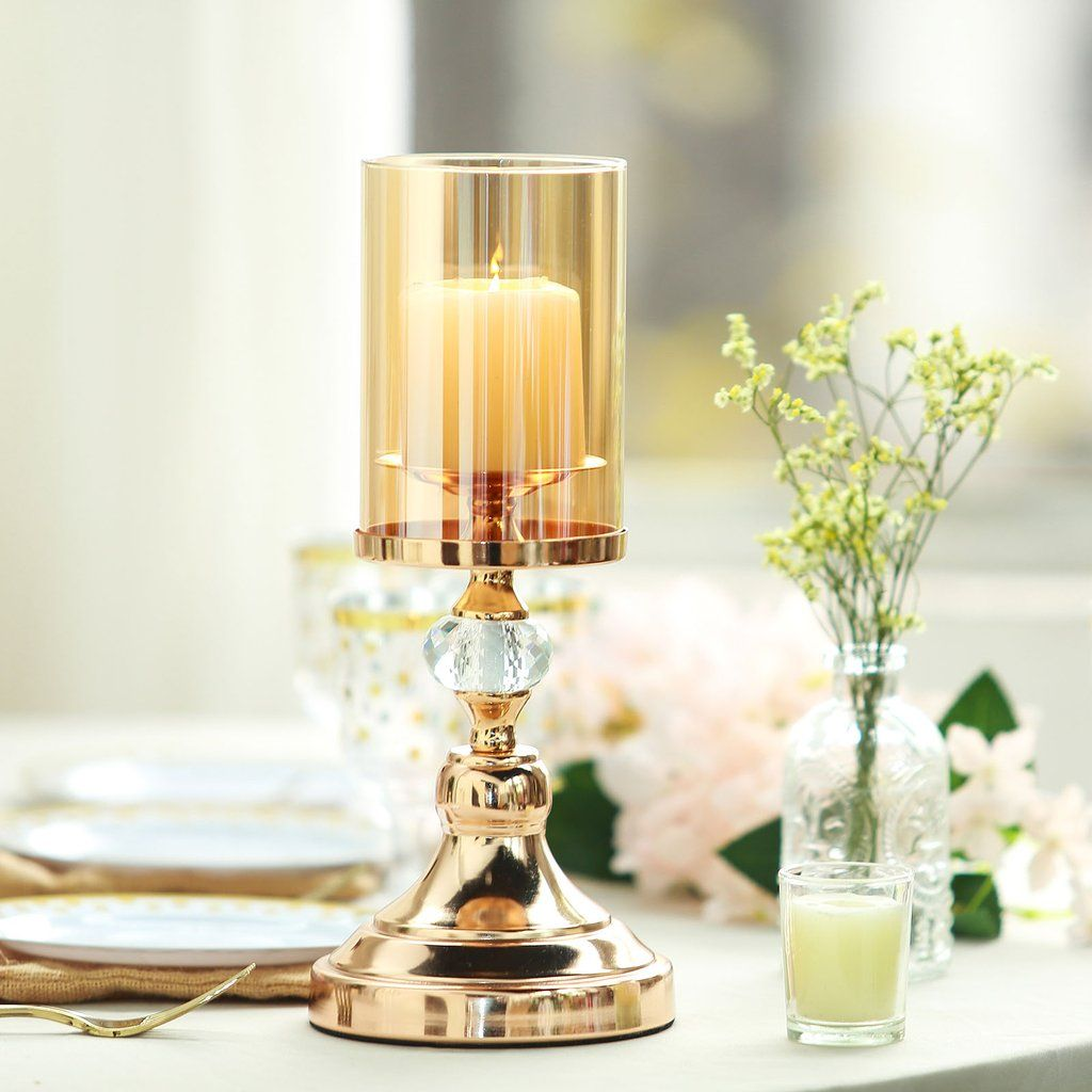 13 Tall Gold Metal Pillar Candle Holder With Hurricane Glass Tube Pillar Candles Candle Holders Pillar Candle Holders