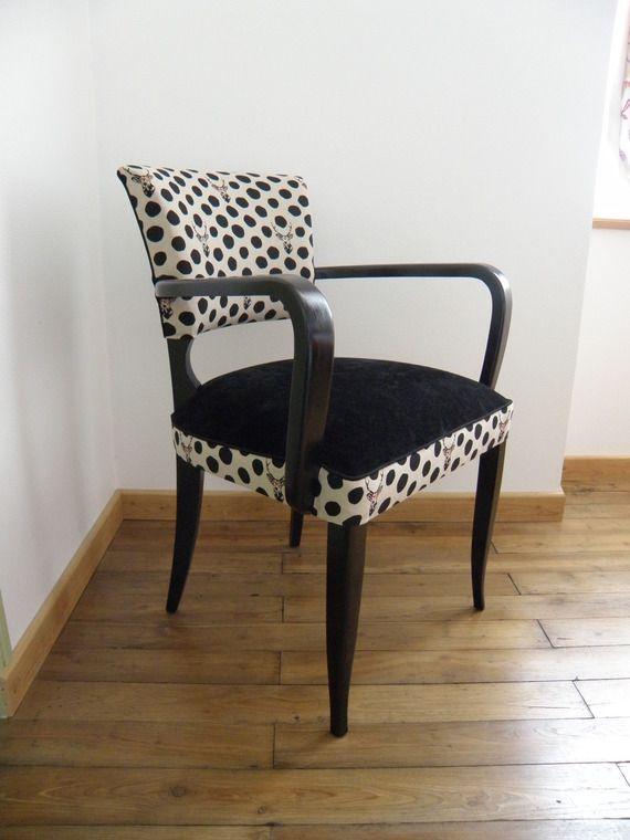 Fauteuil Bridge Tissu Noir Et Tissu Cerfs à Lunettes Bútor - Petit fauteuil moderne