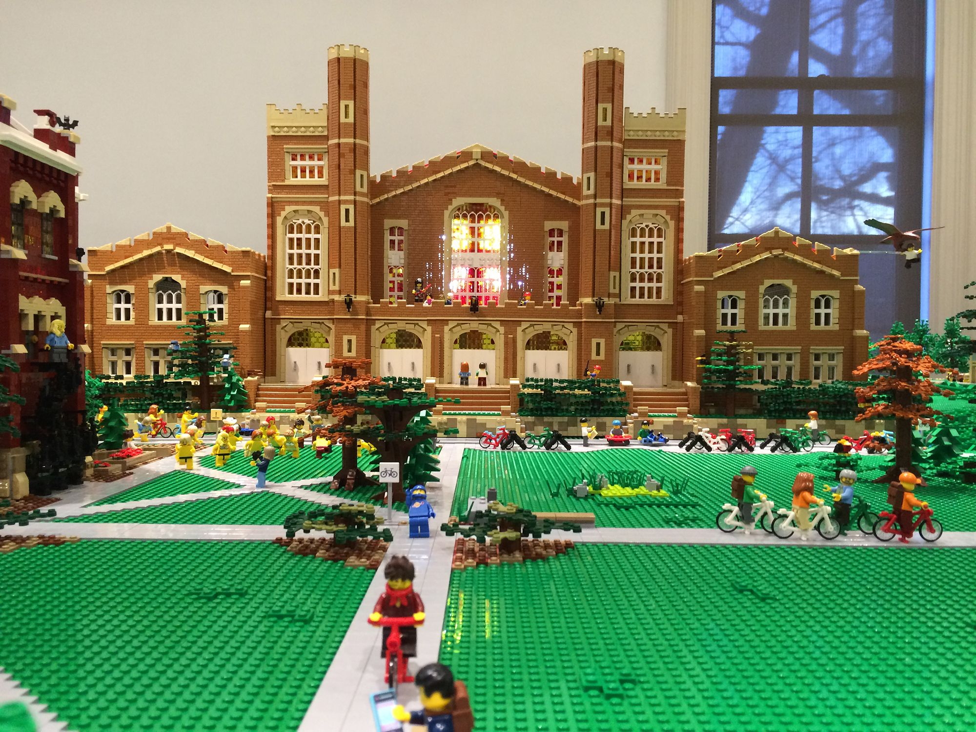 Macky Auditorium and the Norlin Quad made entirely of Legos as part of the CU Heritage Center Lego Exhibit.