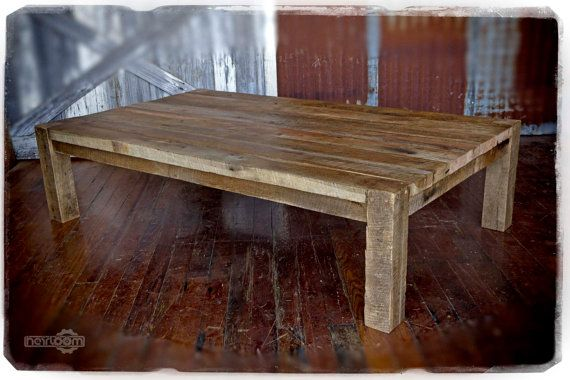 Large coffee table made using reclaimed barn wood top is for Coffee tables 4x4
