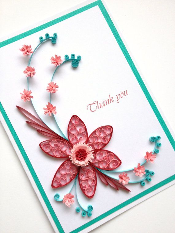 Paper Quilling Thank You Card Quilled Handmade By Joscinta 6 00