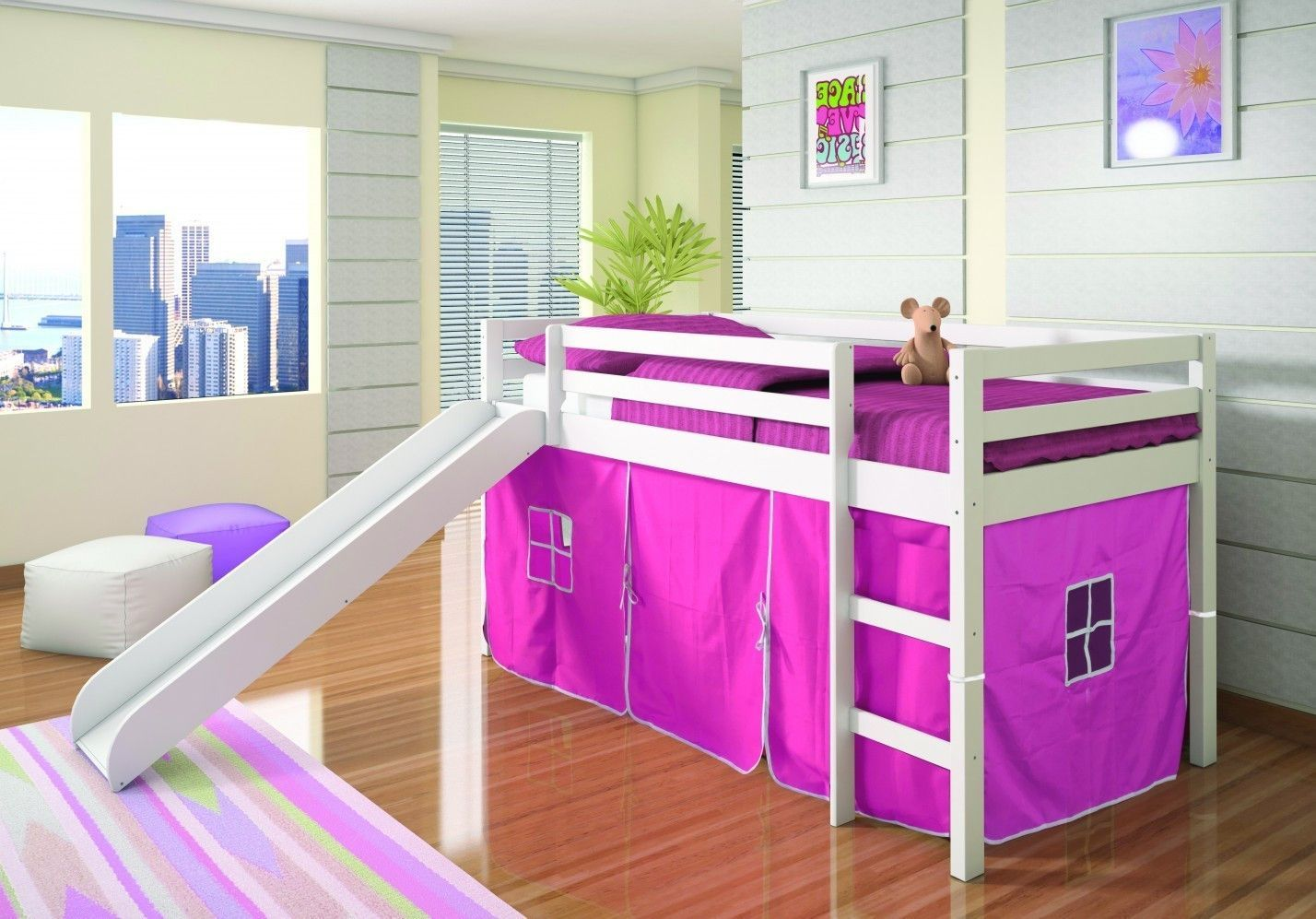 Loft bed with slide and tent  Elena Loft Bed with Slide and Pink Tent  Bunk bed