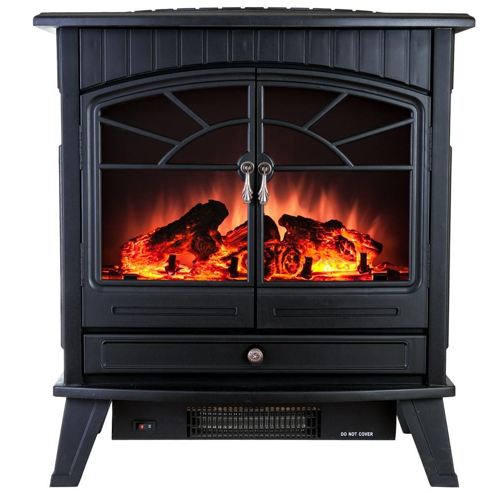 Akdy 400 Sq Ft Electric Stove In Black With Vintage Glass Door Realistic Flame And Logs Fp0033 The Home Depot Portable Fireplace Stove Fireplace Electric Fireplace